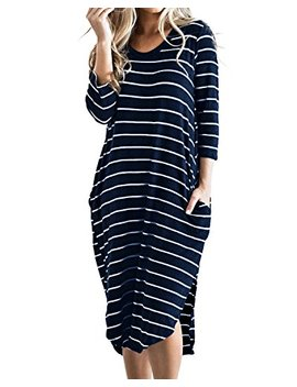Cnfio Women's Short Sleeve Stripes T Shirt Dress Oversized Boho Long Dresses With Pockets by Cnfio