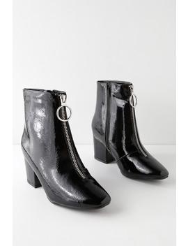 Xora Black Crinkle Patent Ankle Booties by Lulu's