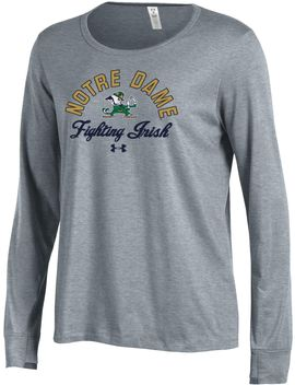 Under Armour Women's Notre Dame Fighting Irish Grey Charged Cotton Long Sleeve Performance T Shirt by Under Armour