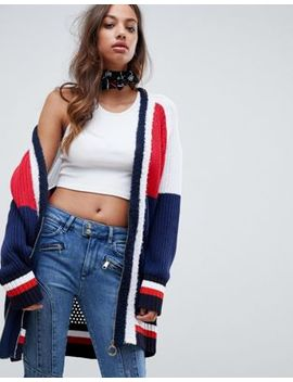 Tommy Hilfiger X Gigi Hadid Color Block Cardigan With Circle Zip Puller by Tommy Hilfiger