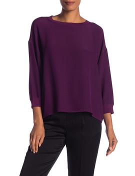 Rib Trimmed Long Sleeve Blouse by Vince
