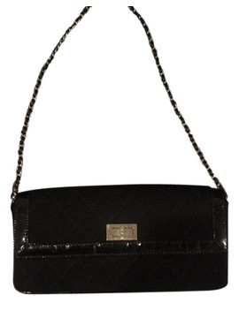 Classic Flap Bkack Vinyl And Fabric Shoulder Bag by Chanel