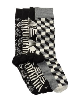 Assorted Crew Socks Gift Box   Pack Of 4 by Happy Socks