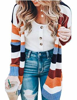 Womens Color Block Striped Cardigan Long Sleeve Open Front Knit Sweater Cardigan by Kistore