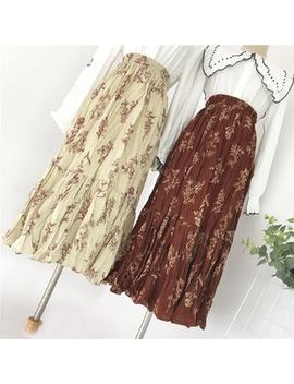 Viie   Midi Flower Print Chiffon Skirt by Viie