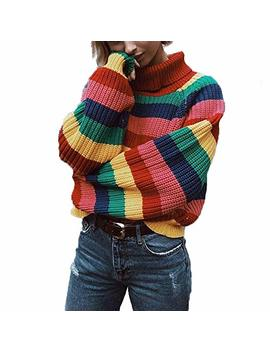 Cimeiee Womens Long Sleeve Striped Rainbow Striped Top Turtleneck Knitted Sweater Jumper Shirt by Cimeiee