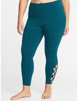 High Rise Lattice Hem 7/8 Length Plus Size Yoga Leggings by Old Navy