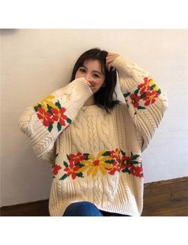 Cosmo Corner   Flower Cable Knit Loose Fit Sweater by Cosmo Corner