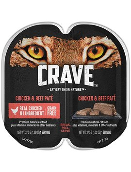 Crave Grain Free High Protein Wet Cat Food Trays (Case Of 24 Twin Packs, 48 Servings) by Crave
