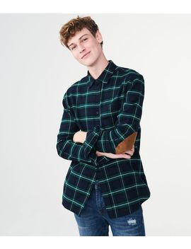 Long Sleeve Plaid Elbow Patch Woven Shirt by Aeropostale