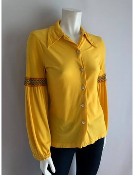 Vintage Womens 70's Disco Blouse, Yellow, Polyester, Long Sleeve By Jane Hunter (S) by Etsy