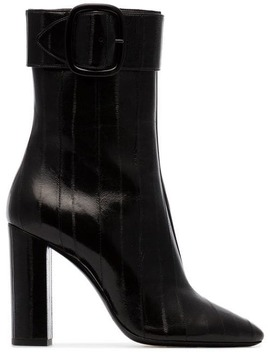 Black Joplin 105 Buckled Eel Leather Boots by Saint Laurent