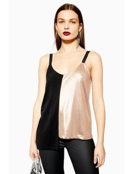 Metallic Colourblock Camisole Top by Topshop