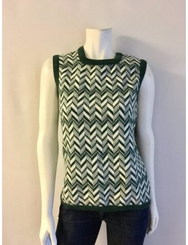 Vintage Women's 70's Sleeveless Sweater, Green, Zig Zag By Dalton (M) by Etsy