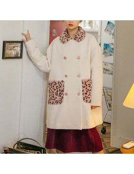 Lidia   Leopard Print Panel Double Breasted Coat by Lidia