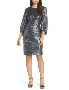 Blouson Sleeve Sequin Sheath Dress by Eliza J