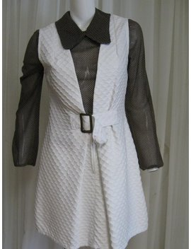 Mod Dress 1960s Vintage Brown White Set, Two Piece Frock, Size Small by Etsy