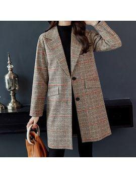 Yumu   Plaid Single Breasted Long Coat by Yumu