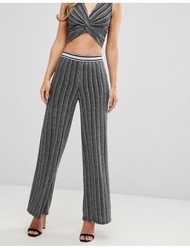 Flounce London High Waisted Trousers With Elasticated Waist In Silver Metallic by Flounce London