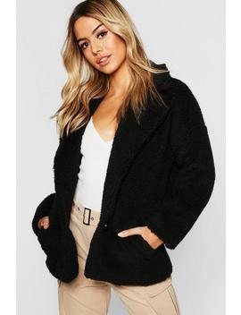 Petite Button Front Teddy Coat by Boohoo