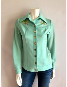 Vintage Women's 70's Polyester, Leisure Jacket, Pastel Green (S) by Etsy