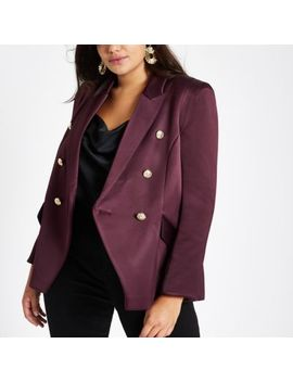 Plus Purple Satin Double Breasted Blazer by River Island
