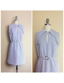 60s White And Navy Striped Nautical Mini Dress / 1960s / Sixties / Vintage Puritan Collar Sleeveless Mod Dress / Medium by Etsy