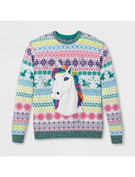 33 Degrees Men's Ugly Holiday Rainbow Unicorn Long Sleeve Pullover Sweater   Ivory by 33 Degrees
