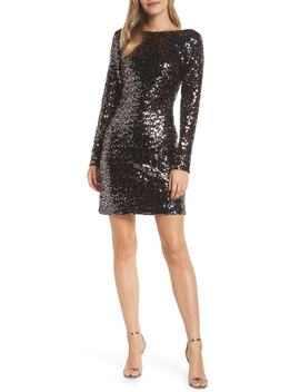 Bateau Neck Sequin Sheath Dress by Eliza J