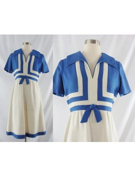 Vintage Sixties 60s Blue And White Linen Short Sleeved Mod Dress   Small by Etsy