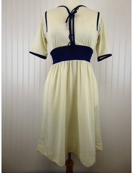 60s Mod Dress, White Blue Trim Vintage Half Sleeve Dress, Bow Details, Toni Todd by Etsy