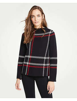 Petite Plaid Mock Neck Sweater by Ann Taylor