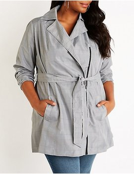 Plus Size Plaid Trench Coat by Charlotte Russe