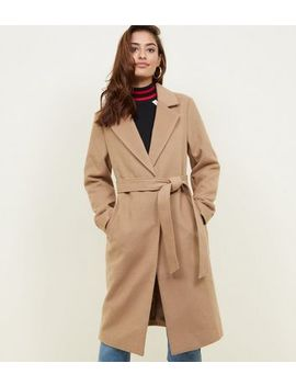 Camel Belted Longline Felted Coat by New Look