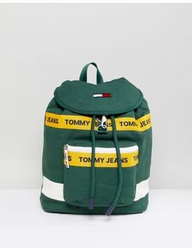 Tommy Jeans Heritage Backpack In Canvas In Dark Green by Tommy Jeans