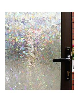 Mikomer 3 D Decorative Window Film,Clear Glass Film,Rainbow Effect Door Window Decoration,Static Cling/Vinyl/Heat Control/Anti Uv For Kitchen,Dining Room,Bedroom,Living Room,17.5 In. By 78.7 In. by Mikomer