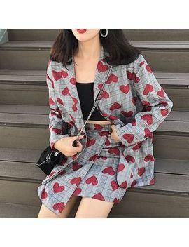 Hyan   Plaid Heart Print Blazer / Mini A Line Skirt by Hyan
