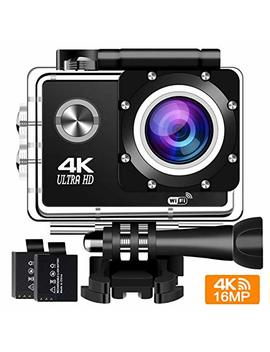 Action Camera 4 K 30 Fps Sports Cam   Buiejdog 16 Mp Action Cam Hd Wi Fi Waterproof Camcorder With 170°Wide Angle Lens 2 Rechargeable Batteries And Accessories Kits (4k) by Buiejdog