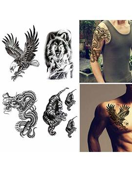 Large Temporary Tattoos Waterproof Fake Tattoo Realistic Eagle Wolf Tiger Dragon Animal Shaped Body Tattoo Stickers For Men Adults Boys Guy (Black, 4 Sheets) by Finrray