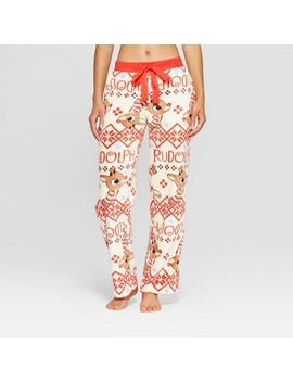 Women's Rudolph The Red Nosed Reindeer Holiday Super Soft Plush Pajama Pants   Cream by Rudolph The Red Nosed Reindeer