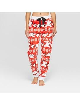 Women's Coca Cola Holiday Coke Bear Super Soft Plush Jogger Pajama Pants   Red by Coca Cola