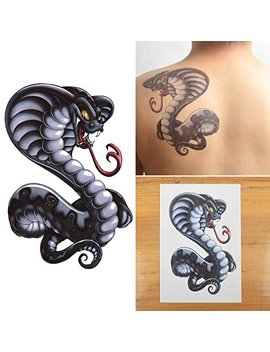 Cokohappy Large Temporary Tattoo , Cobra Snake by Cokohappy