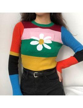 Sinora   Flower Printed Color Block Sweater by Sinora