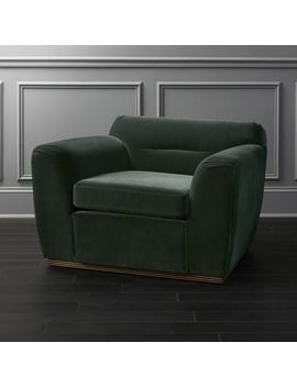 Clive Pleated Spruce Green Velvet Armchair by Crate&Barrel