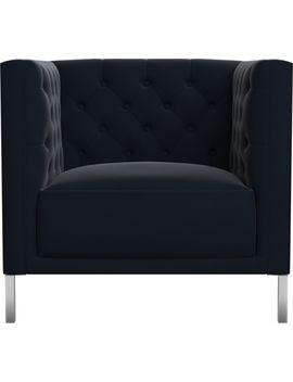Savile Midnight Blue Velvet Chair by Crate&Barrel