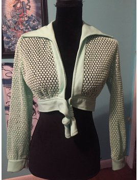 Incredible Vintage 1970's Mint Green Mesh Crop Jacket by Etsy
