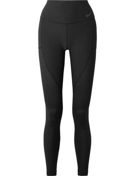Power Cropped Mesh Paneled Dri Fit Stretch Leggings by Nike