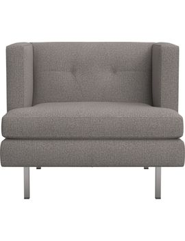 Avec Grey Chair With Brushed Stainless Steel Legs by Crate&Barrel