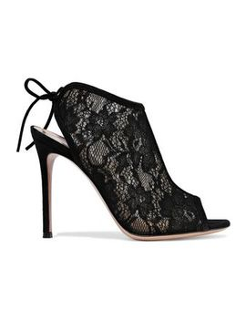 Raquel Suede Trimmed Lace Sandals by Gianvito Rossi