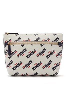 Mania Logo Print Leather Pouch by Fendi